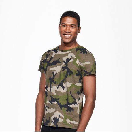 df3e5ee82ff51 T-shirt homme camouflage cintré, manches courtes, 100% coton, 150 g/m²