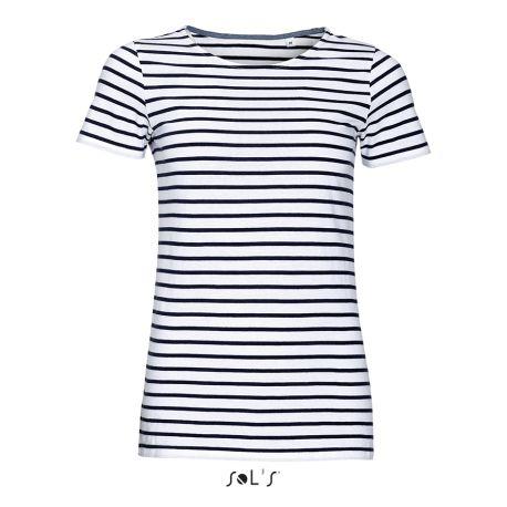 T-shirt femme à rayures, manches courtes, 100% coton, 150 g/m²