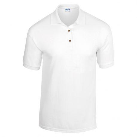Polo en tricot jersey DryBlend, boutons couleur bois, 190 g/m²