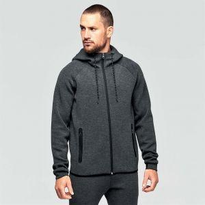 Veste de sport à capuche pour homme effet chiné, 310 g/m²