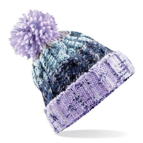 Bonnet tricoté à pompon multicouleurs