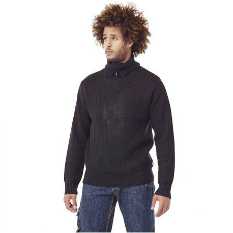 Pull-over de travail tricoté col zippé en acrylique et laine