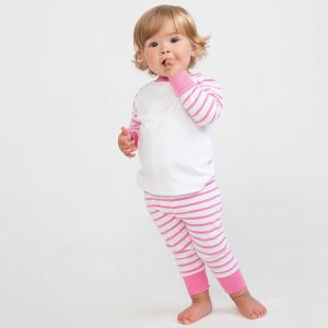 Pyjama bébé rayé à manches longues raglan en coton jersey