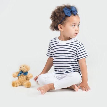 T-shirt marinière bébé manches courtes coton jersey, 160 g/m²
