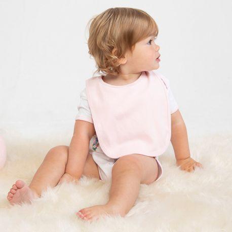 Bavoir bébé uni en coton, fermeture velcro, 200 g/m²