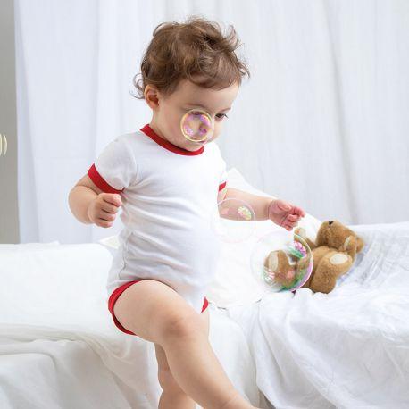 Body bébé bicolore super doux en coton à boutons-pression, 200 g/m²