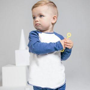 T-shirt bébé baseball bicolore en coton à manches longues, 150 g/m²