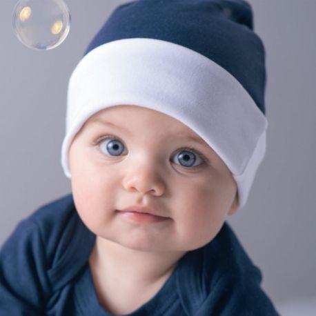 Bonnet pour bébé réversible 100% coton bio, 200 g/m²
