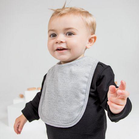 Bavoir bébé double épaisseur en coton, fermeture scratch, 220 g/m²