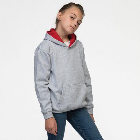 Sweat enfant à capuche bicolore, 80% coton, 20% polyester, 280 g/m²