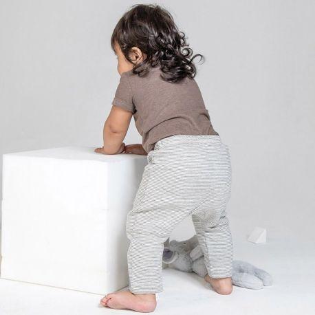 Pantalon legging bébé rayé en coton bio doux et extensible, 200 g/m²