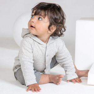 Sweat bébé rayé à boutons et capuche en coton bio doux, 200 g/m²
