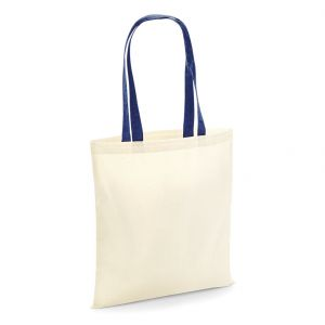 Tote bag coton vierge écru naturel, anses longues colorées, 140 g/m²