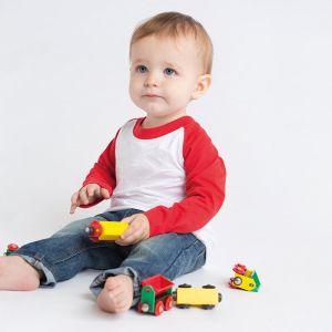 T-shirt baseball manches longues bébé bicolore en coton, 160 g/m²