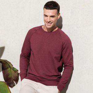 Sweat-shirt homme set-in bio et no label, manches raglan, 300 g/m²