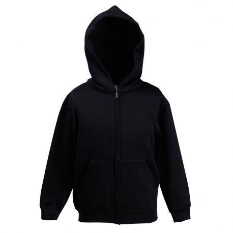 Sweat enfant zippé à capuche doublée en polycoton, 280 g/m²