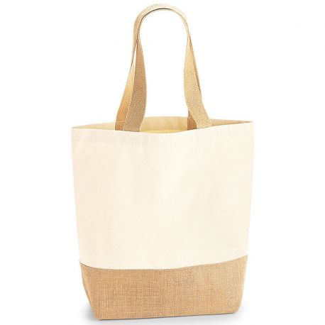 Sac shopping, avec base en toile de jute, 100% coton canvas, 407 gm²