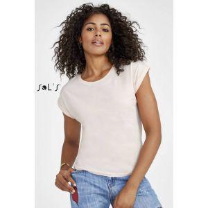 T-shirt femme en jersey fin, avec revers bas de manches, 115 g/m²