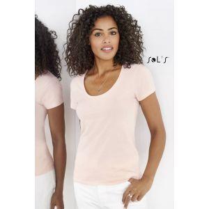 T-shirt femme avec col rond décolleté, 100% coton jersey, 150 g/m²