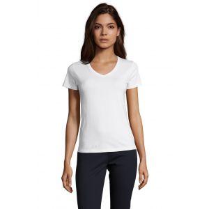 T-shirt femme col V, manches courtes, 100% coton jersey, 190 g/m²
