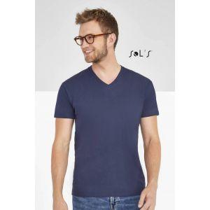 T-shirt homme col V, manches courtes, 100% coton jersey, 190 g/m²