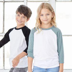 T-shirt baseball enfant bicolore manches 3/4 en polycoton, 130 g/m²