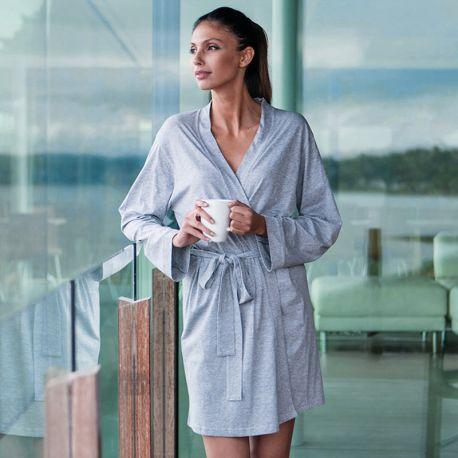 Peignoir femme de bain kimono en tissu jersey avec ceinture, 180 g/m²