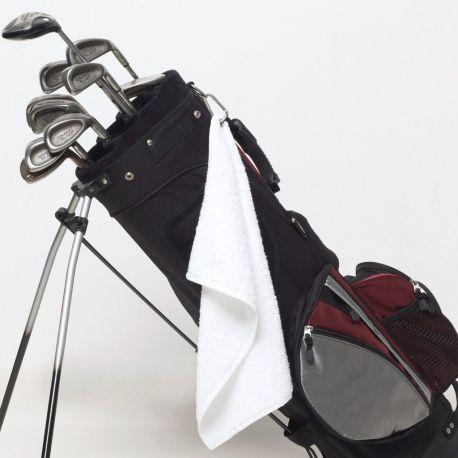 Serviette de golf en coton avec anneau métallique, 550 g/m²