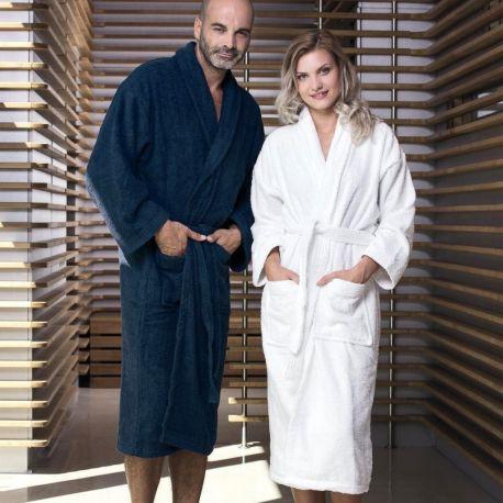 Peignoir de bain avec col châle en coton, poches appliquées, 420 g/m²