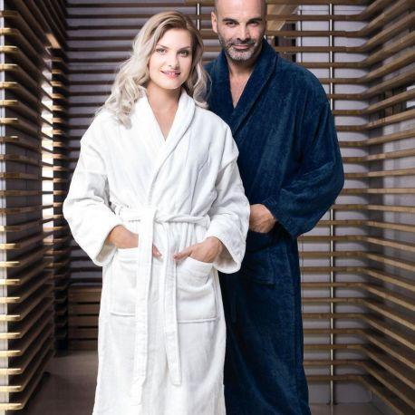 Peignoir de bain avec col châle en coton extérieur velours, 360 g/m²