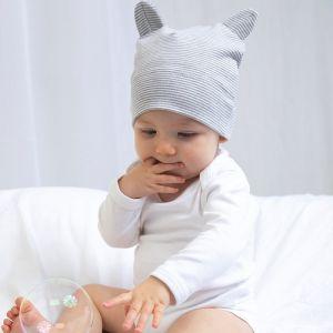 Bonnet pour bébé avec 2 petites oreilles 100% coton bio, 200 g/m²