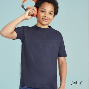 T-shirt enfant col rond, manches courtes, en coton jersey, 150 g/m²