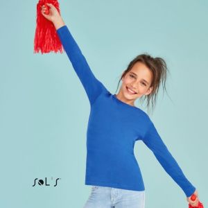 T-shirt enfant manches longues en coton ringspun, 190 g/m²