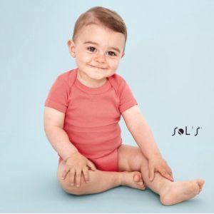 Body bébé pas cher manches courtes en coton ringspun, 180 g/m²