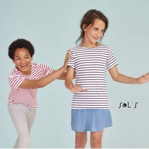 Tee-shirt enfant NO LABEL col rond rayé manches courtes, 150 g/m²