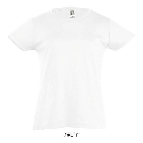 T-shirt cintré pour petite fille col fin, manches courtes, 150 g/m²