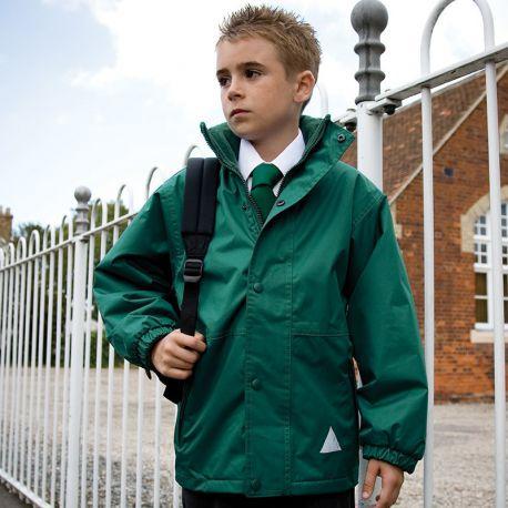 Veste enfant polaire réversible en coupe-vent imperméable