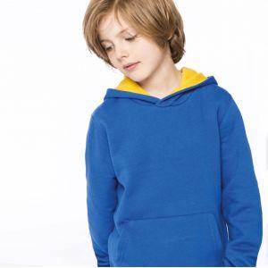 Sweat enfant à capuche contrastée en polycoton, 280 g/m²