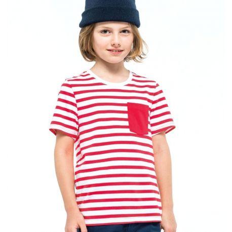 T-shirt marinière enfant avec poche sur le coeur, 160 g/m²