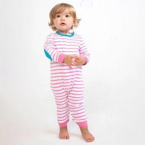 Body bébé rayé à manches longues en coton jersey, 160 g/m²