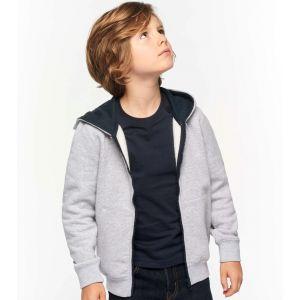 Sweat enfant zippé bicolore à capuche en polycoton, 280 g/m²