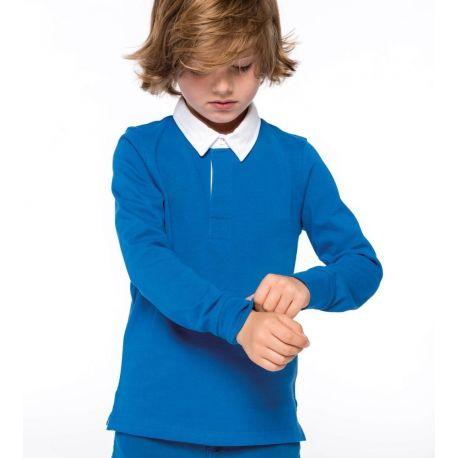 Polo rugby pour enfant à manches longues en coton, 280 g/m²
