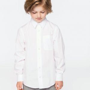 Chemise enfant en popeline manches longues, 120 g/m²