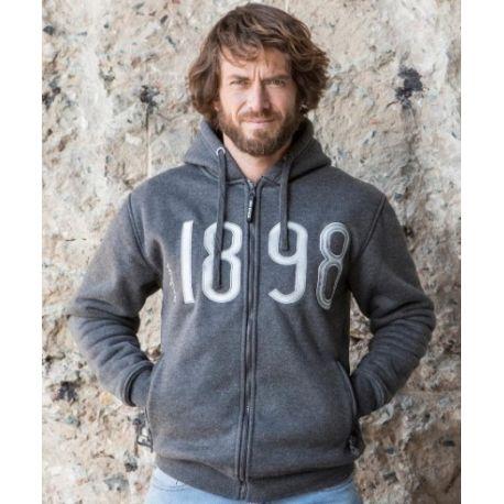 Sweat street hoodie à capuche, zippé et doublé polaire, 550 g/m²