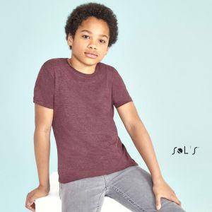 T-shirt enfant en coton coupe fittée col rond manches courtes, 150 g/m²