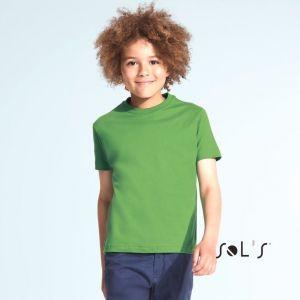 T-shirt enfant en coton épais col rond, manches courtes, 190 g/m²