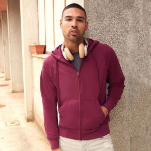 Sweat-shirt à capuche homme zippé léger, manches raglan, 240 g/m²