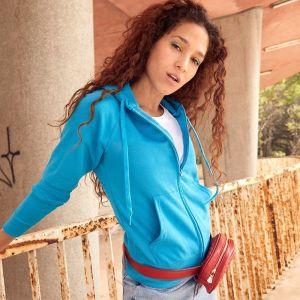 Sweat-shirt à capuche femme zippé léger, manches raglan, 240 g/m²