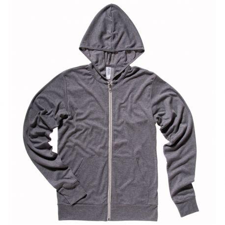 Sweat-shirt triblend à capuche léger zippé, coupe slim, 190 g/m²