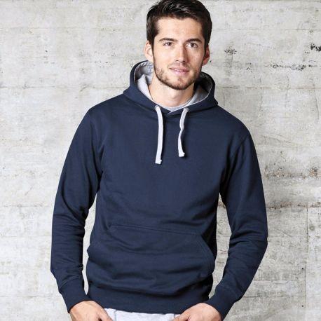 Sweat-shirt bicolore à capuche doublée en polycoton, 300 g/m²
